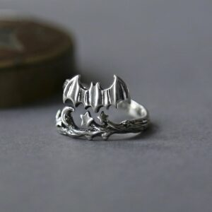 Oxidised silver adjustable bat and moon ring