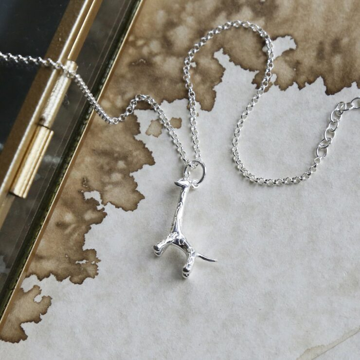 Sterling silver giraffe pendant necklace