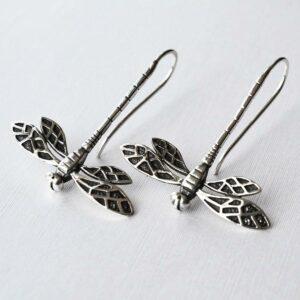 Silver dragonfly in flight pull through earrings