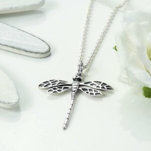 Silver dragonfly in flight necklace