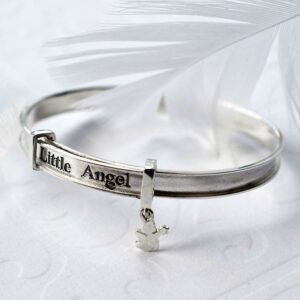 Silver adjustable baby bangle inscribed with 'Little Angel'