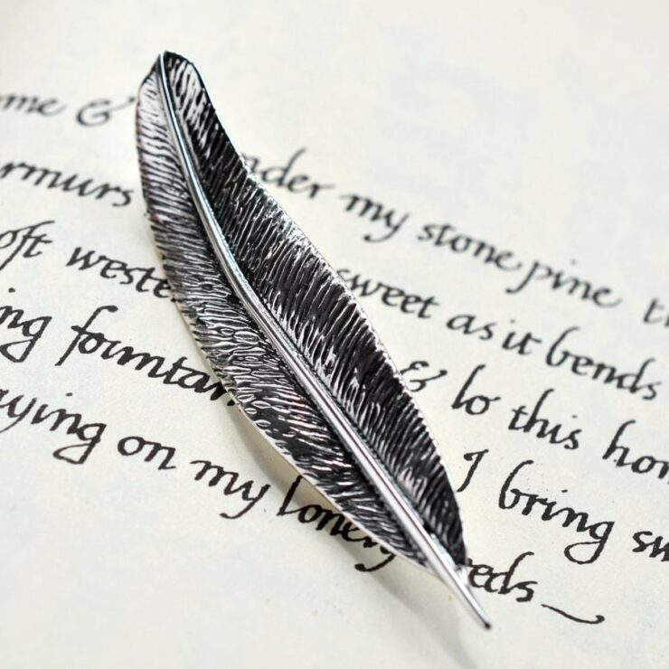 Silver detailed feather brooch