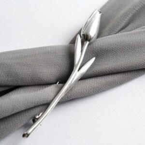 Silver long stem tulip brooch