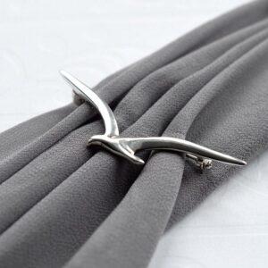 Silver Seagull in flight brooch