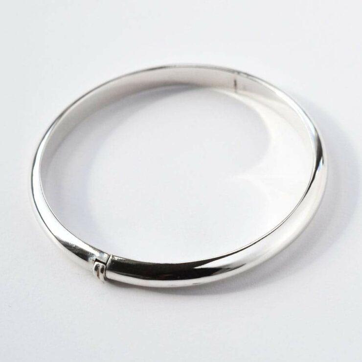 Silver plain band christening bangle