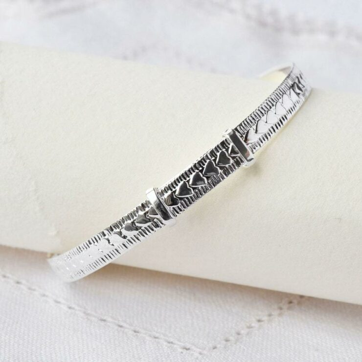 Silver adjustable decorative heart baby bangle