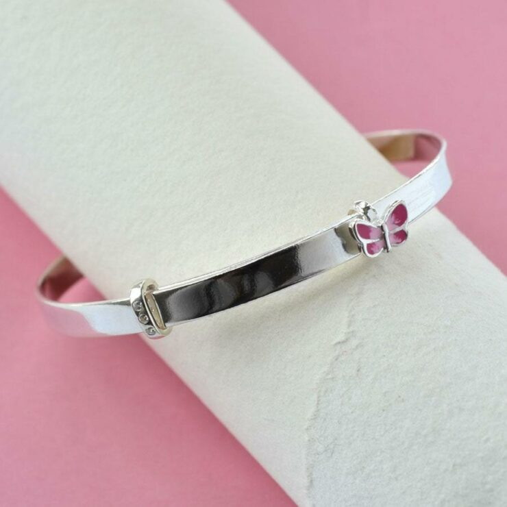 Silver plain band with pink butterfly christening bangle