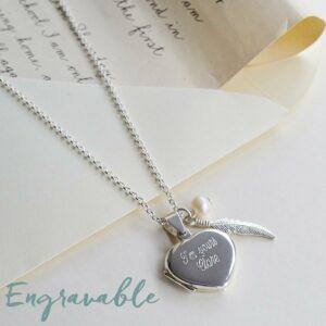 Silver thin blank heart locket