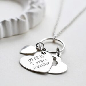 Silver engravable triple hearts on ring necklace