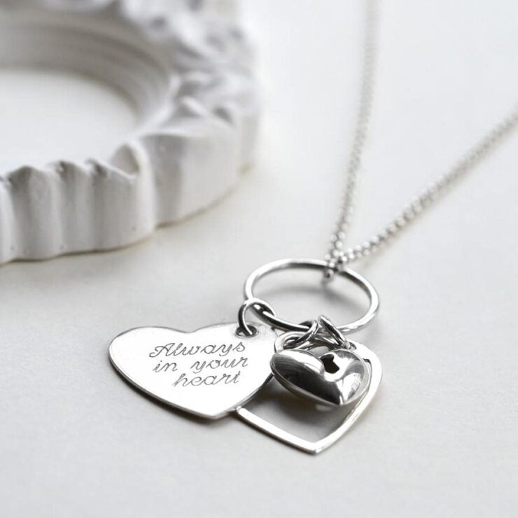 Silver engravable two hearts on ring with lock pendant necklace