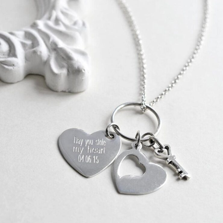Silver engravable two hearts cut out style with lock pendant necklace
