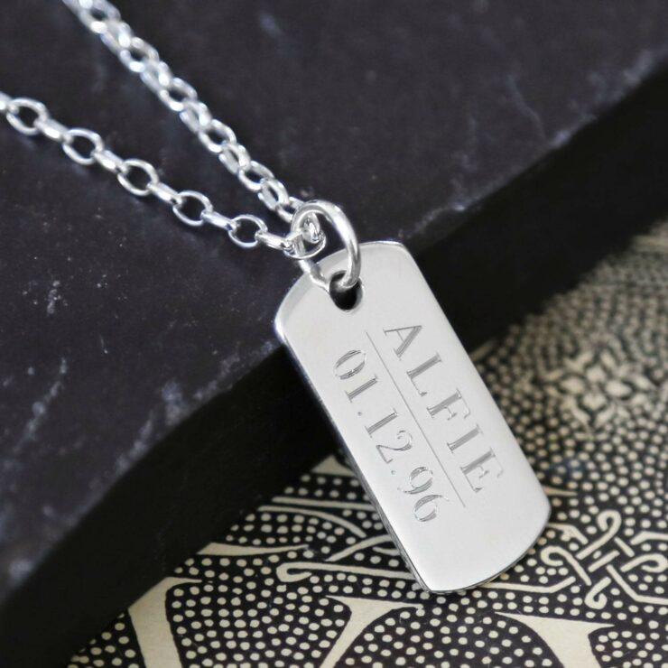 Silver engravable dog tag