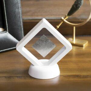 Meteorite Slice in White frame on Desk with Certificate