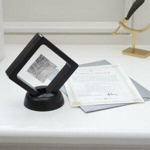 Meteorite Slice in Black frame on Desk with Certificate