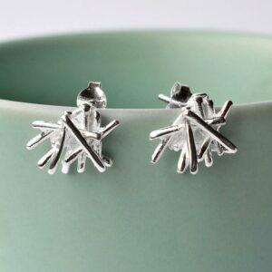 Silver Twig Stack Earrings by Martha Jackson