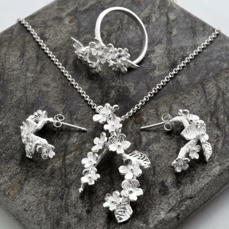 Silver Forget Me Not Cluster Jewellery Set by Martha Jackson