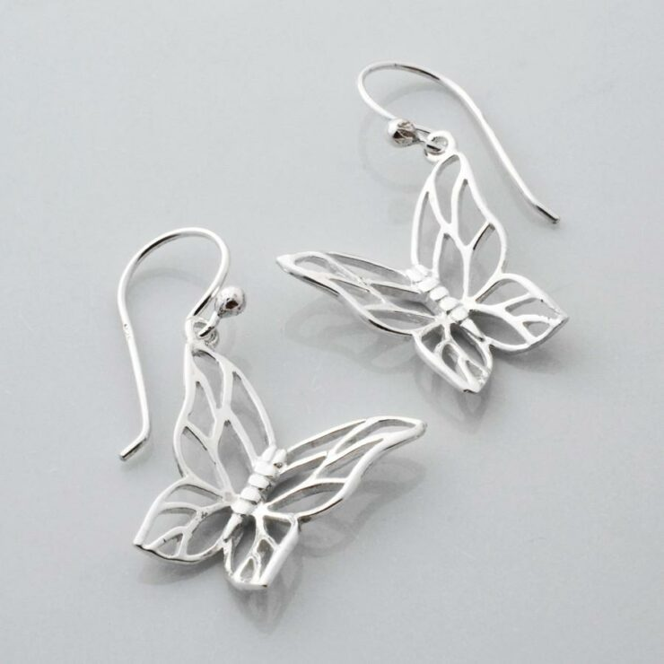 Silver Butterfly Drop Earrings by Martha Jackson