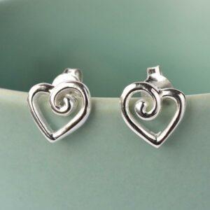 Silver Spiral Heart Stud Earrings