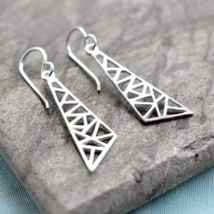 Silver Geometric Drop Triangle Jewellery by Martha Jackson