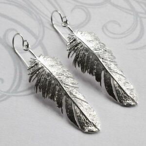Silver Feather Drop Jewellery by Martha Jackson