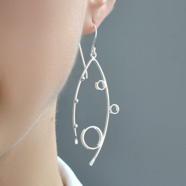 Silver Bubble Effect Earrings by Martha Jackson
