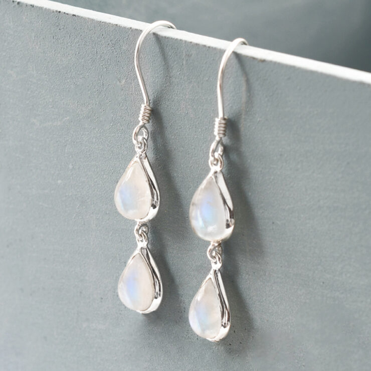 Moonstone double teardrop with grey background