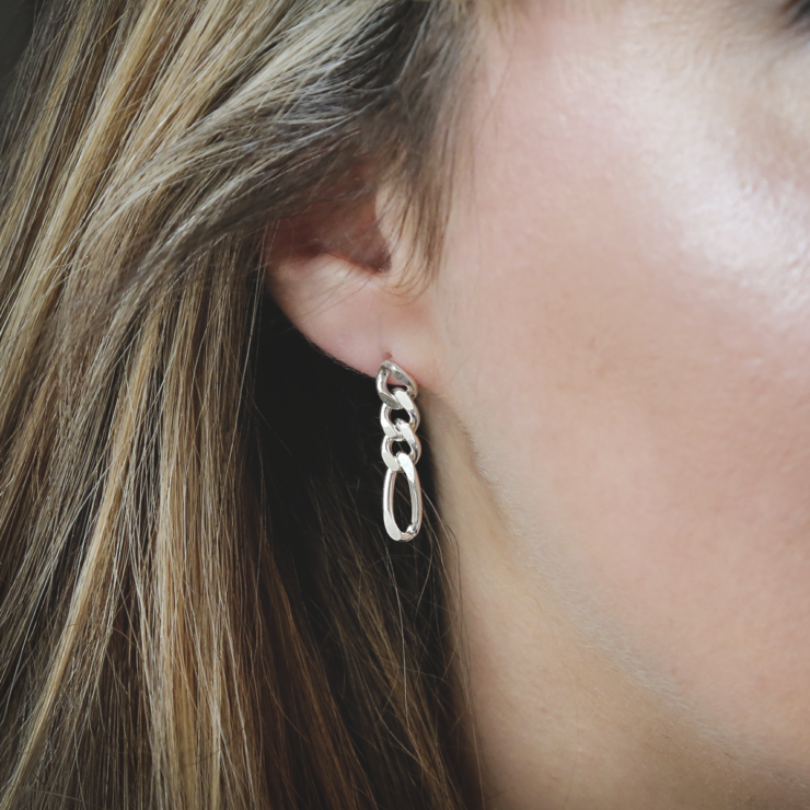 sterling silver figaro chain earrings on woman with blonde hair