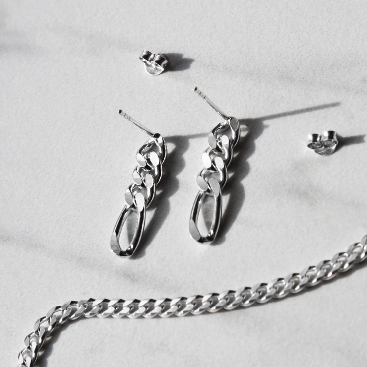sterling silver figaro chain earrings on white background with butterfly backs