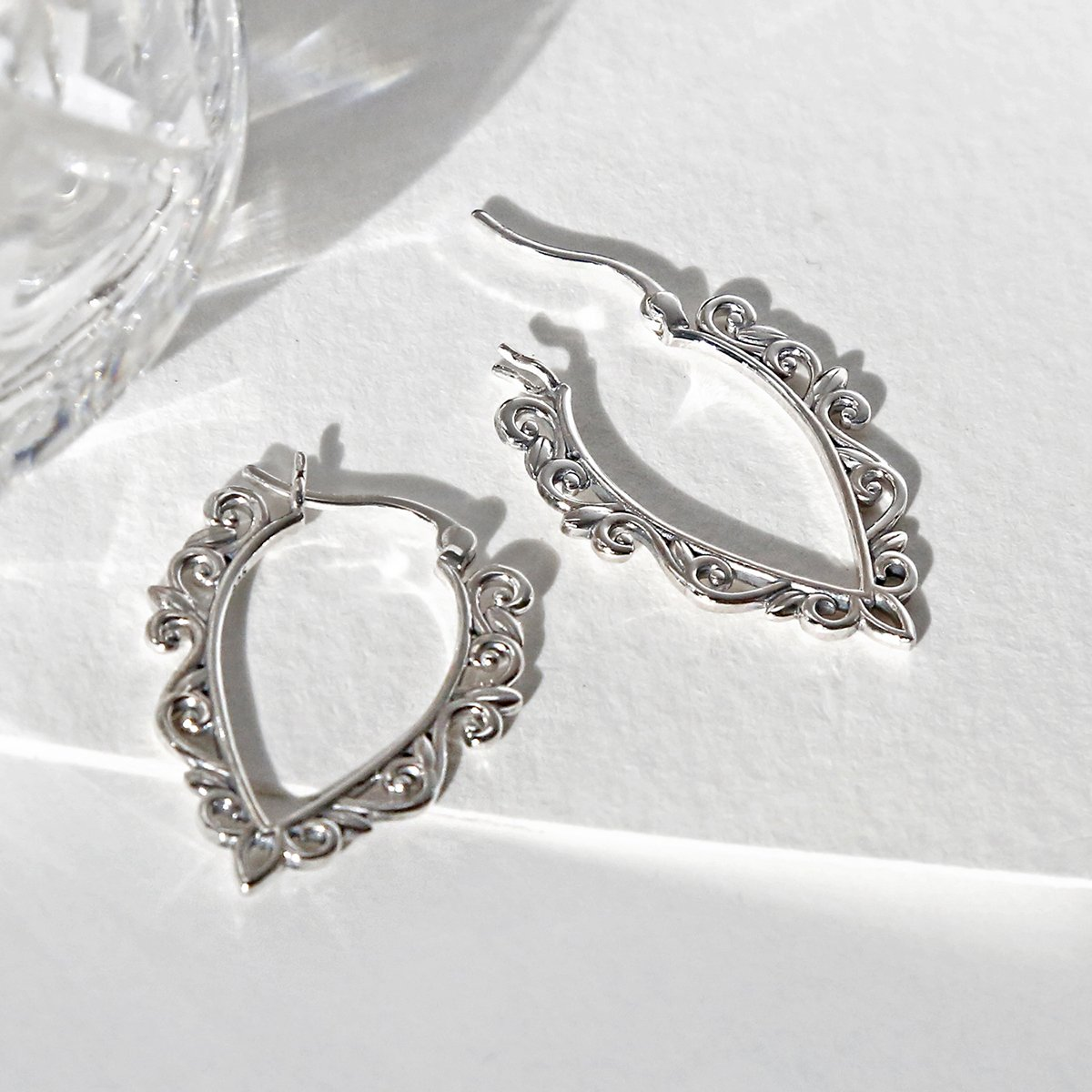 Sterling Silver Harmony Hoops showing clasp undone
