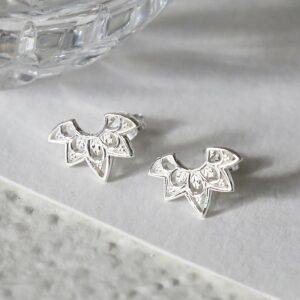sterling silver eastern starburst studs showing detail