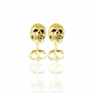 gold mini skull studs showing teeth, eye sockets and nose socket details
