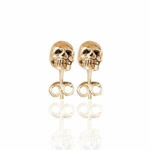 rose gold  mini skull studs showing teeth detail