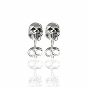 sterling silver mini skull studs showing teeth detail