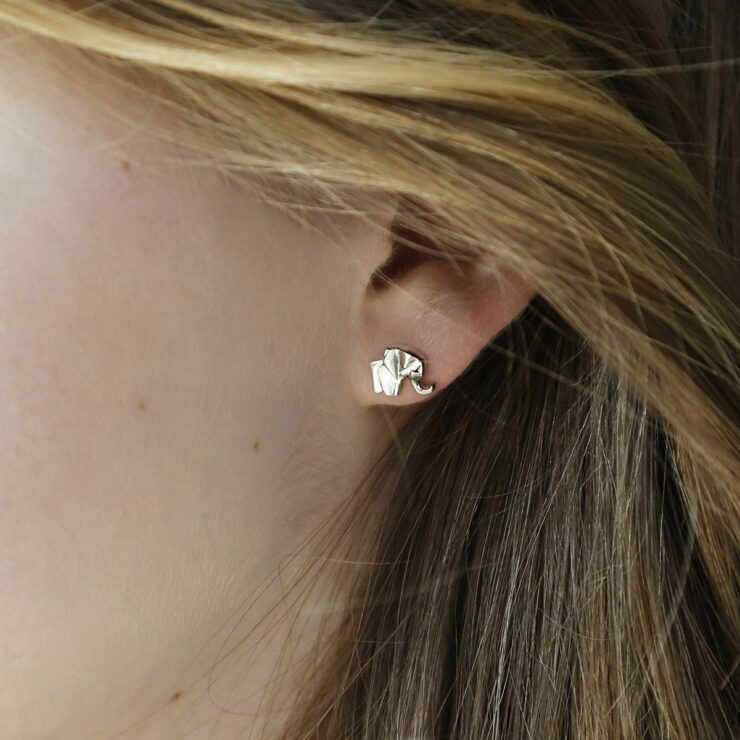 A silver geometric elephant stud in a girls ear surrounded by blonde and brown hair pushed away from the earring