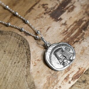 silver ancient persian coin pendant front