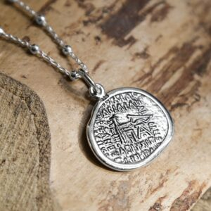 silver ancient persian coin pendant back
