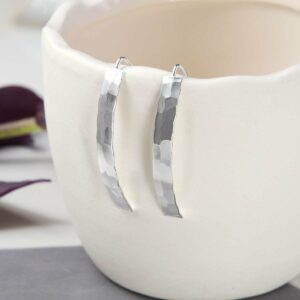 Hammered style Earrings hanging from cermaic cup with leaves in background