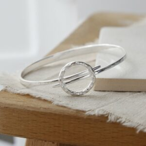 sterling silver joyful wreath bangle  close up