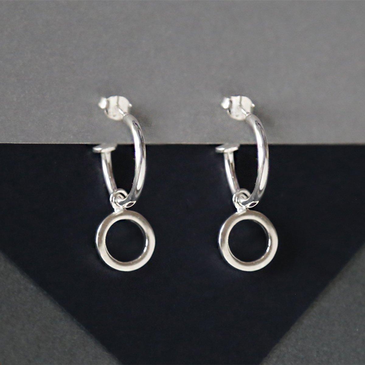 sterling silver circle hoop studs showing hoops pendant hanging off hoop