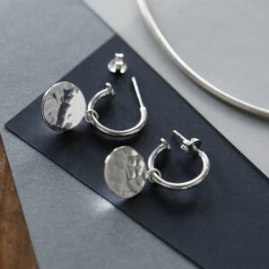MZB94_Sterling Silver  Disc Stud Hoop one with butterfly on and one with butterfly off