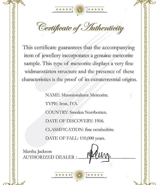 Meteorite Certificate of Authenticity by Martha Jackson