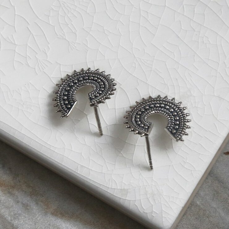 Oxidised sterling silver Marrakech studs on white background