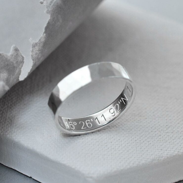 Sterling silver friendship ring. Hammered sterling silver secret message ring with personalised engraving.