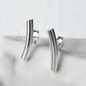 Sterling Silver Bar Stud Earrings by Martha Jackson