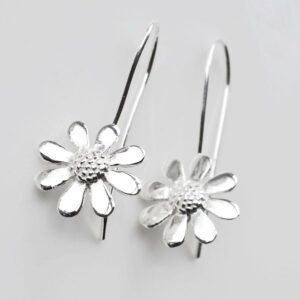 Sterling Silver Contemporary Daisy Earrings by Martha Jackson
