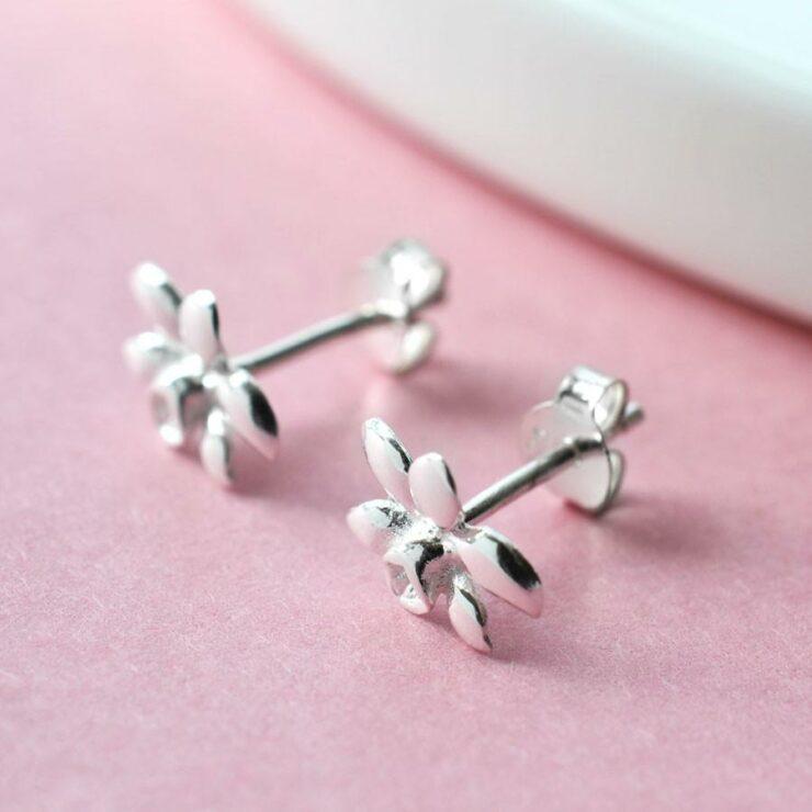 Sterling Silver Daffodil Stud Earrings by Martha Jackson