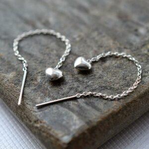 Sterling Silver Heart Chain Earrings by Martha Jackson