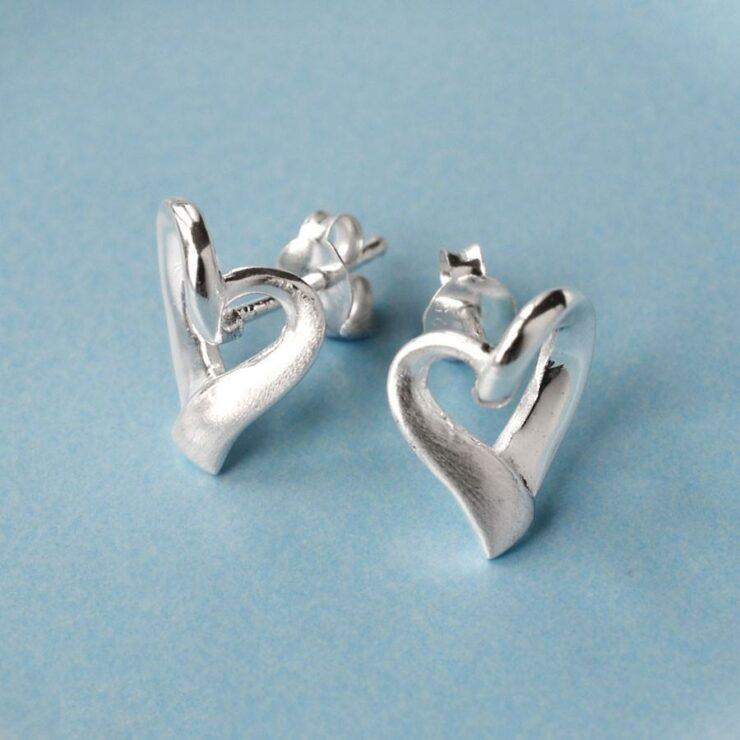 Silver Ribbon Heart Earrings by Martha Jackson