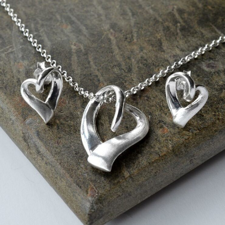 Silver Ribbon Heart Jewellery Set by Martha Jackson