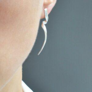 Sterling Silver Ribbon Twist Earrings by Martha Jackson
